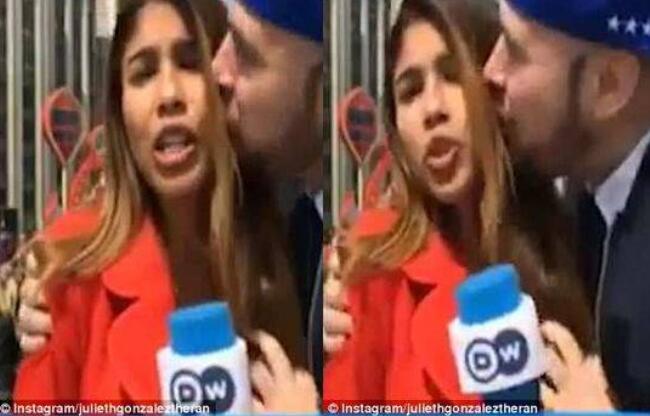 女记者直播遭强吻袭胸