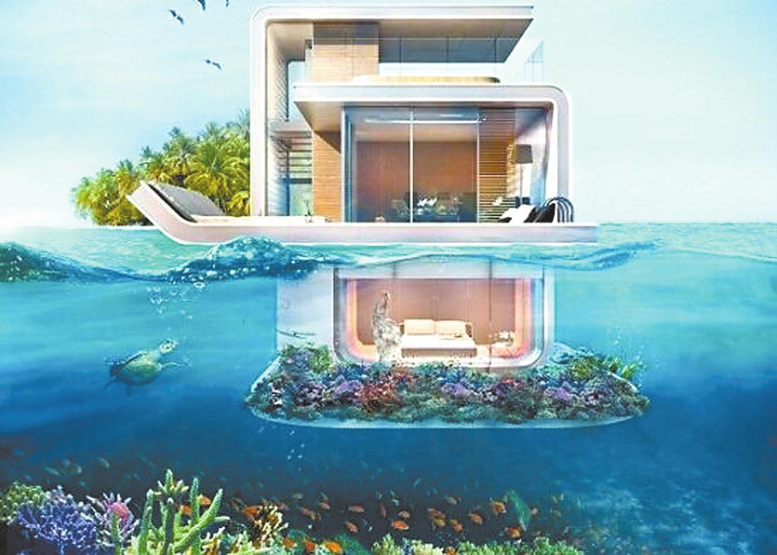 """迪拜""""海马""""别墅:卧室在水下可观珊瑚"""