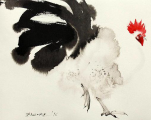 Endre Penovác的水墨鸡画