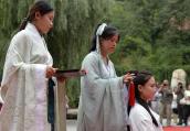 河北邢台举办汉式女子成人礼(组图)