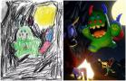 艺术家再创造孩子笔下怪物