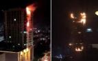 烟花引燃高楼火势旺