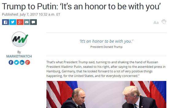 特朗普 汉堡/核心提示:特朗普在与普京握手时表示,特朗普在德国汉堡对聚集...