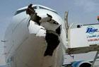 飞机被鸟撞出大洞