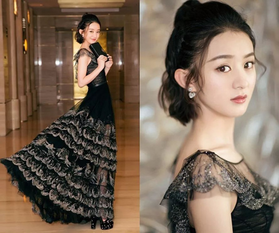 将新剪的俏皮短发扎成了苹果头,身着dior 2017秋冬黑色礼服的赵丽颖图片