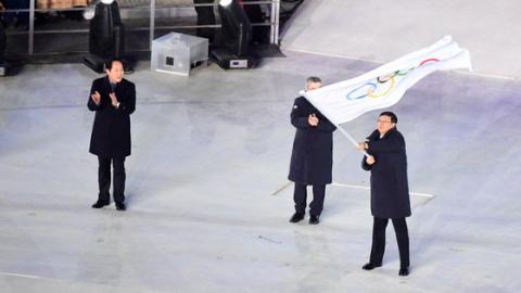北京冬奥会奥林匹克会旗交接仪式 进入北京时间