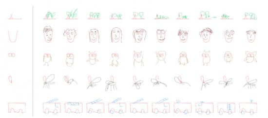 谷歌大脑教机器画简笔画 神经网络的大作都长啥样